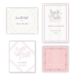 Pastel invitation templates collection isolated on background. Save the date cards with hand drawn decoration. Wedding or any event invitation design set.