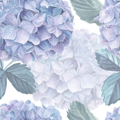 Hydrangea watercolor seamless pattern. Beautiful retro style floral wallpaper for your design.