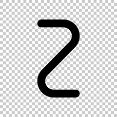 Number two, numeral, simple letter. On transparent background.