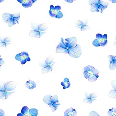 Seamless pattern, blooming blue hydrangea. Illustration by markers, beautiful floral composition on a white background. Imitation of watercolor drawing.
