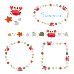Summer beach elements border frame set