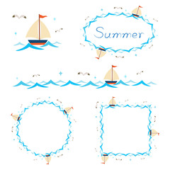 Summer beach elements border frame set