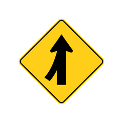 USA traffic road signs. merging traffic entering from the left. vector illustration