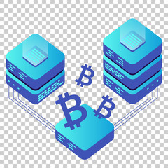 Mining bitcoin server vector icon in isometric style. Blockchain crypto money farm datacenter illustration on isolated transparent background. Block chain concept.