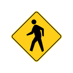 USA traffic road signs. pedestrian crossing ahead. vector illustration
