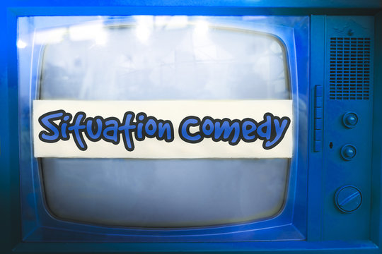 situation comedy blue tv series genre television label old tv text sitcom vintage retro background