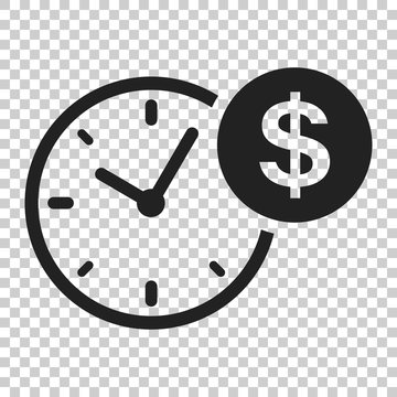 Business and finance management icon in flat style. Time is money illustration on isolated transparent background. Financial strategy business concept.