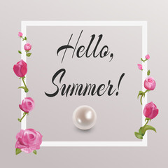 floral delicate greeting card Hello summer