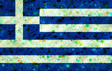 Illustration of a Greek flag with a blossom pattern