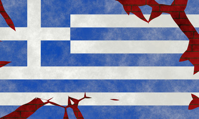 Illustration of a Greek Flag, imitating of a painting on the old wall with cracks
