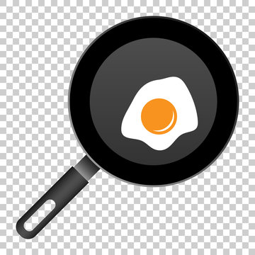 Realistic frying pan with egg icon in flat style. Cooking pan illustration on isolated transparent background. Skillet kitchen equipment business concept.