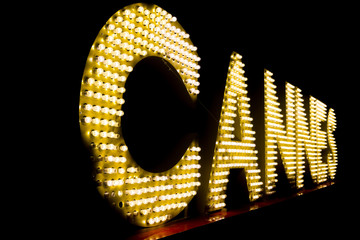 Cannes written with light bulbs