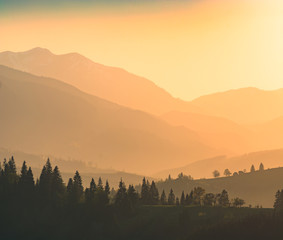 Mountains in a beautiful light of sunset