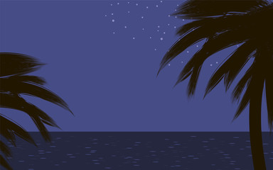 black dark contours of palm trees on tropical coast nature at night blue sky ocean glare stars Vector drawing background