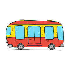 Hand drawn cartoon bus icon isolated on white background.