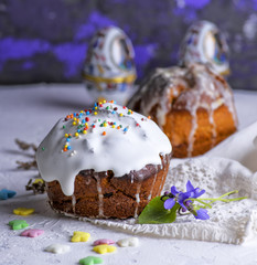 traditional Easter baking of Ukraine with white sugar icing