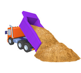 model of toy truck , sand delivery, construction work, illustration on a white background
