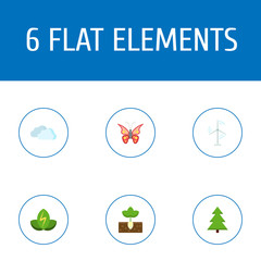 Set of eco icons flat style symbols with butterfly, spruce, cloud and other icons for your web mobile app logo design.
