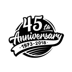 45 years anniversary design template. Vector and illustration. 45th logo.
