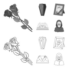 Coffin with a lid and a cross, a photograph of the deceased with a mourning ribbon, a corpse on the table with a tag in the morgue, death in a hood. Funeral ceremony set collection icons in outline