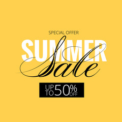 Summer hot sale poster with beautiful lettering. A large summer sale poster, advertising, booklet. Illustration with isolated design elements