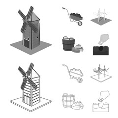 Garden, plot, ecology and other web icon in outline,monochrome style. Drink, liquid, farm icons in set collection.