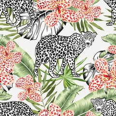 Leopard animals and green banana palm leaves, flowers background. Vector floral seamless pattern. Tropical jungle foliage illustration. Exotic plants greenery. Summer beach design. Paradise nature.