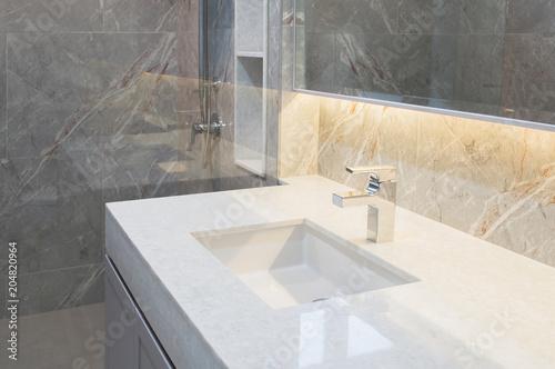Counter Top White Marble With Washbasinwall And Floor Beigegrey