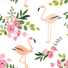 Floral bouquets and blush pink flamingo on the white background. Vector seamless pattern with tropical birds and flowers. Exotic summer beach.