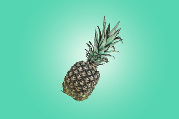 Pineapple isolated on green pastel. Summer Color. Tropical Fruit on retro style and toned colors. Minimalist style. Creative Art concept.