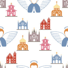 Christianity religion vector religionism flat illustration seamless pattern background holy sign silhouette praying religionary christian faith religionist priest church traditional culture symbol.
