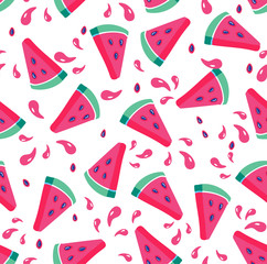 Summer seamless pattern. Seamless background with watermelon slices. Vector illustration
