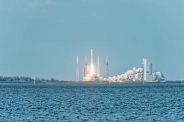 NASA rocket liftoff from pad