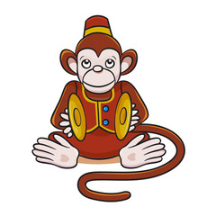 Colored vector illustration of cartoon monkey with cymbals.