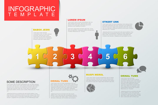 Six steps infographic template with puzzle pieces