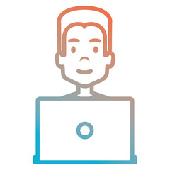 young man with laptop avatar character vector illustration design