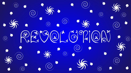 "The word ""Revolution"" on blue background. Symbols of Armenia."