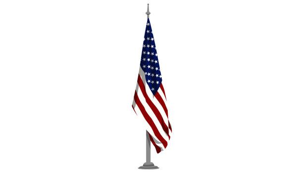 USA Flag hanging on pole