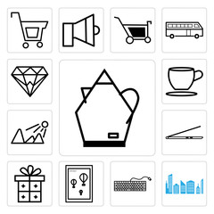 Set of An electric water boiler, City skyline and building, Keyboard, Wall poster or frame with smile, Gift, Laptop, Sun shining, Tea coffee cup, Diamond icons