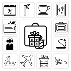 Set of Gift, present, Airplane, Ship line, Tray, support ticket, Bag, Wallet icons