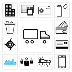 Set of Shipping car, Phone, Cup, Business line, City skyline and building, Shopping card line outline style, Industrial saw, Trash bin icons
