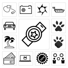 Set of Watch, clock, Business line, New, Online shopping bag, Shopping card line outline style, Dog or cat paw print, Palma tree, Car icons