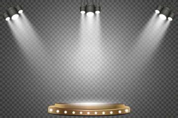 Wall Mural - Round podium with lights effect, abstract background, vector.