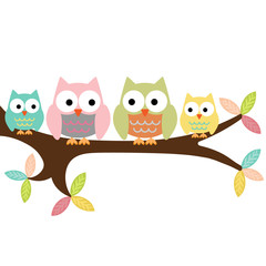 Four owls on a branch