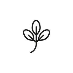 Elm leaf. Flat thin line illustration