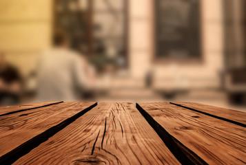 Wooden board empty table in restaurant