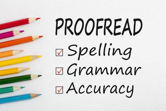 Proofread written on paper sheet