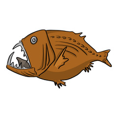 deep sea fish vector illustration sketch doodle hand drawn with black lines isolated on white background