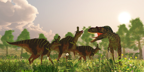 Albertosaurus and Lambeosaurus Dinosaurs - A herd of Lambeosaurus dinosaurs become alarmed when a predatory Albertasaurus makes an appearance in their territory.