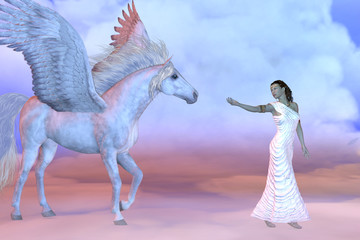 Athena Greek Goddess and Pegasus - Athena, daughter of the Greek God Zeus, beckons to the mythical Pegasus high up in the cloud layers.
